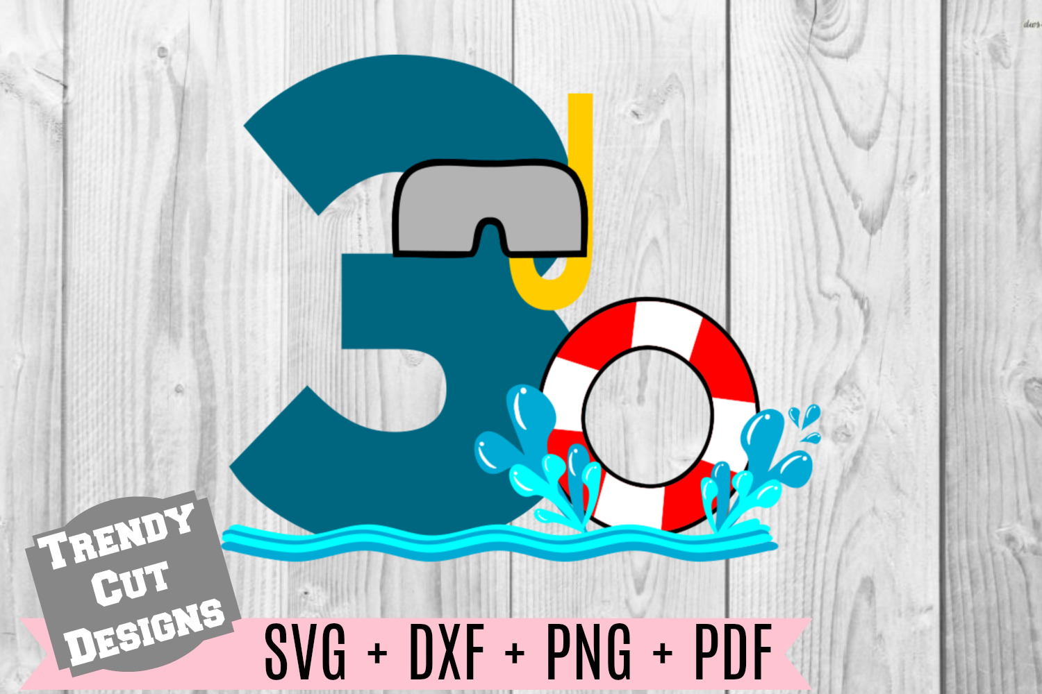 Pool Party Number 3rd Birthday SVG example image 1