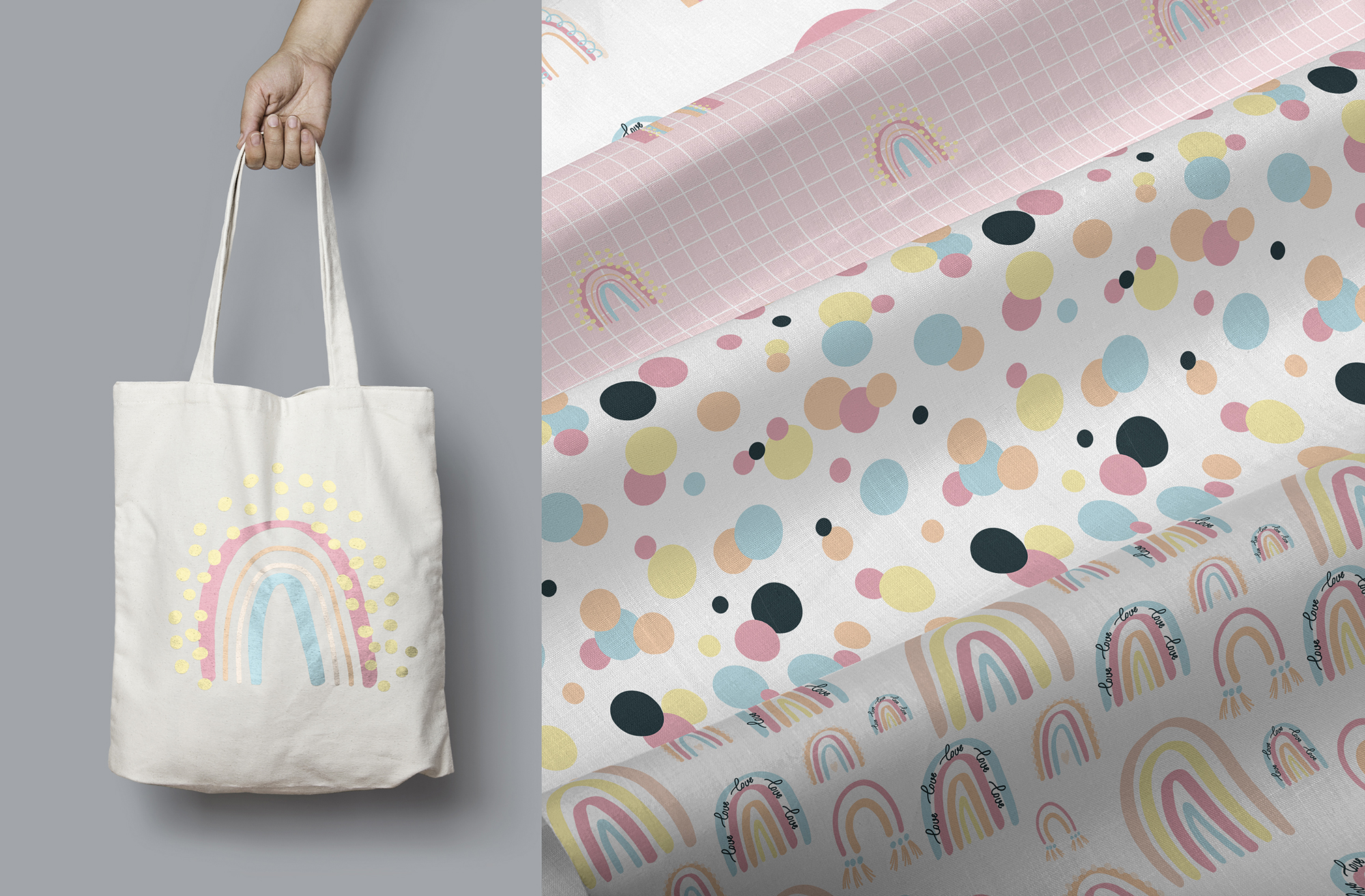 PASTEL RAINBOW. Abstract Graphic Set example image 7