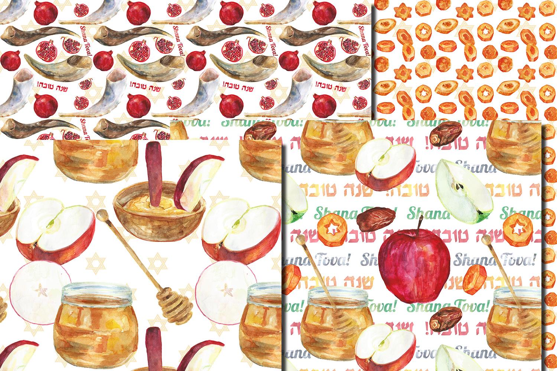 Watercolor Rosh Hashanah seamless digital paper pack example image 5