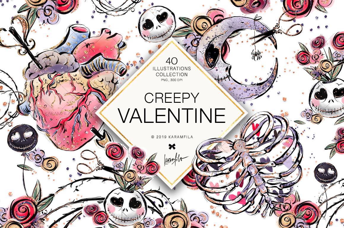 Creepy Valentine's Day Clipart example image 1