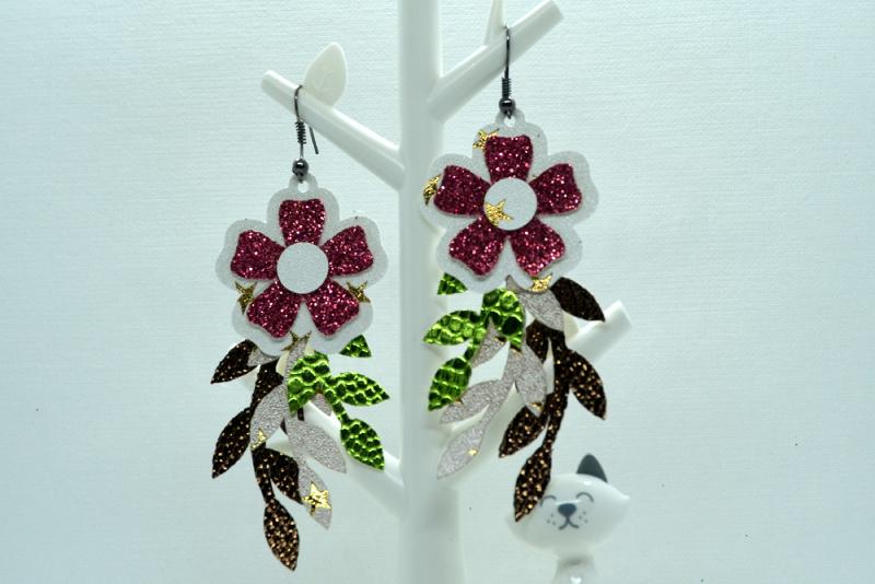 Flower earrings template SVG, DIY earrings template bundle example image 6
