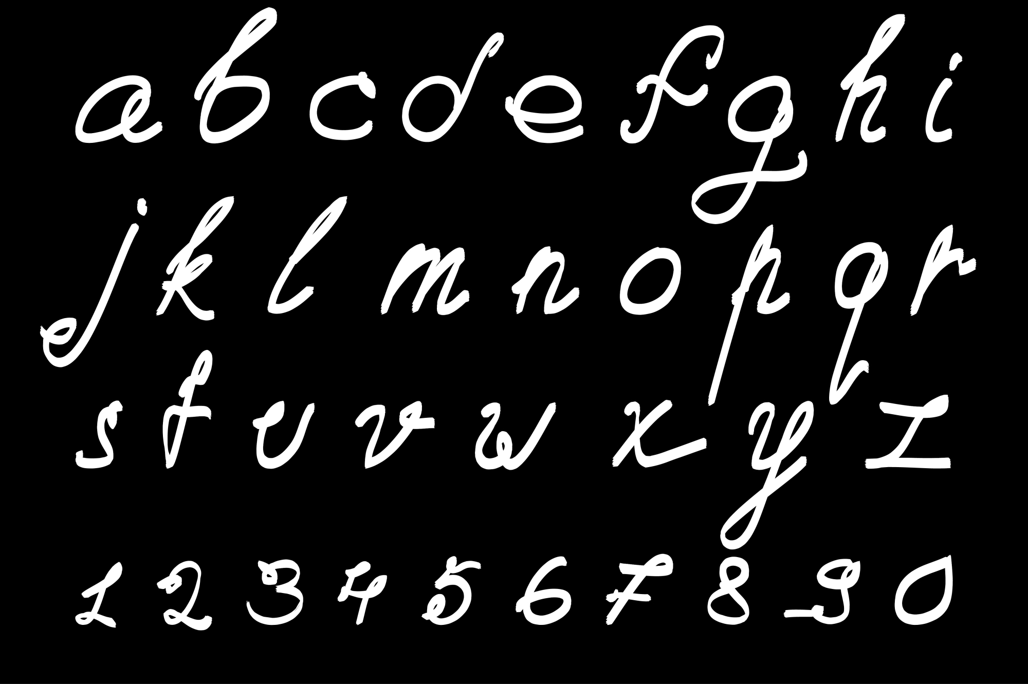 Calligraphic vector font. Handdrawn. example image 2