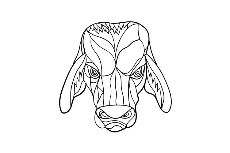 Brahma Bull Head Mosaic Black and White example image 1