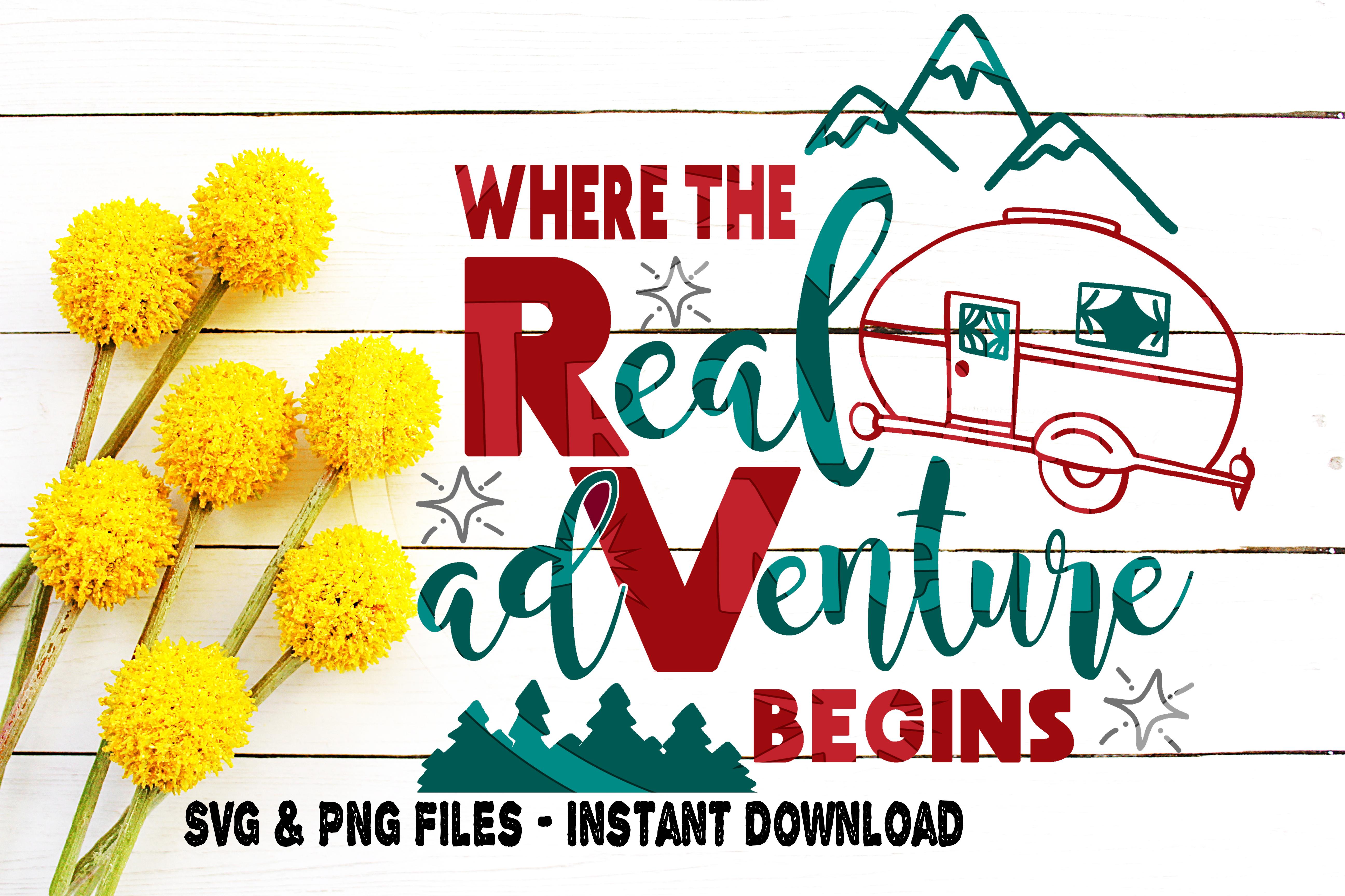 RV Svg, Where The Adventure Begins svg, Travel svg, Explore svg, RV Life svg, Camp svg,  Vintage, Retro, Cut file for, Cricut, Silhouette example image 1