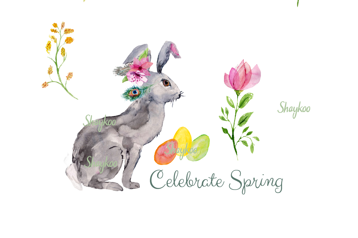 Bunny Watercolor Clipart, Handpainted, Boho, Nursery Bunnies example image 3