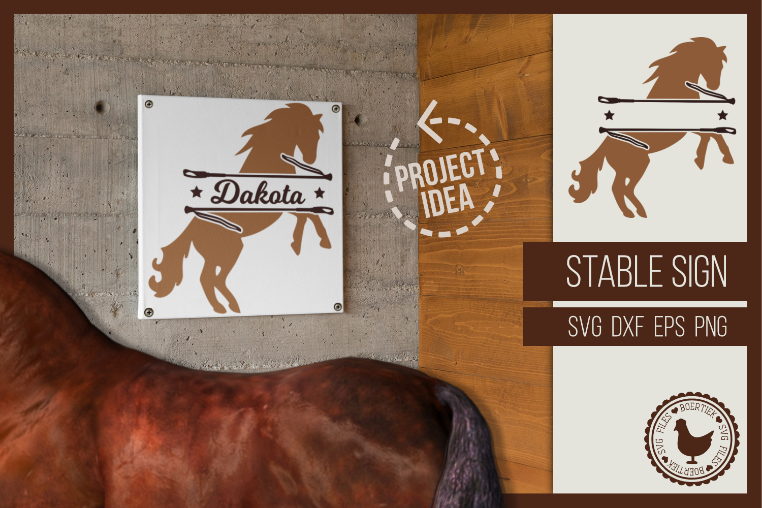 Stable sign, enter the name of your horse, SVG cutting file example image 1