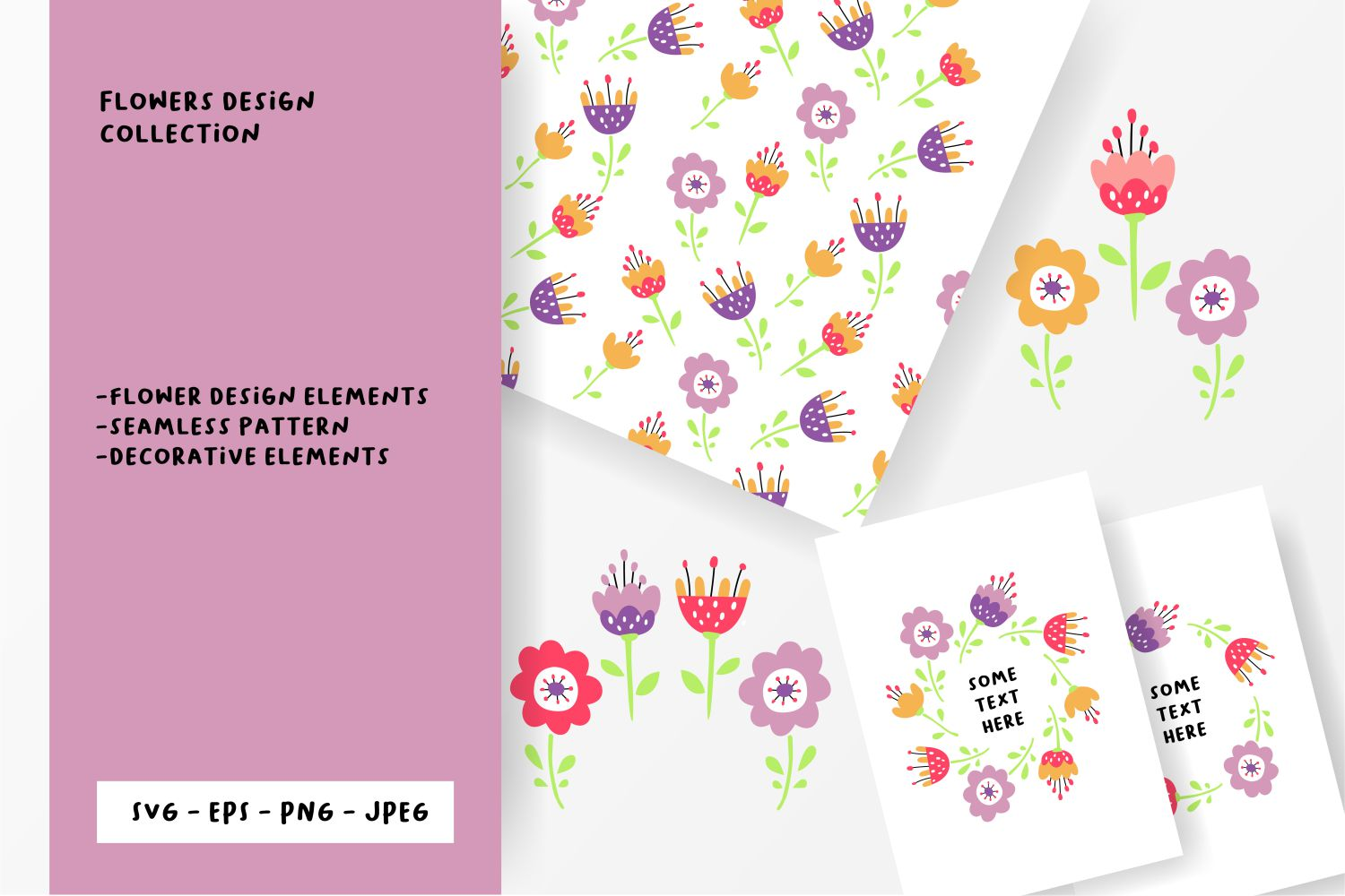 Flower design collection svg example image 1