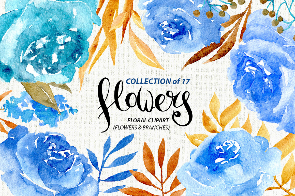 Blue watercolor flowers example image 1