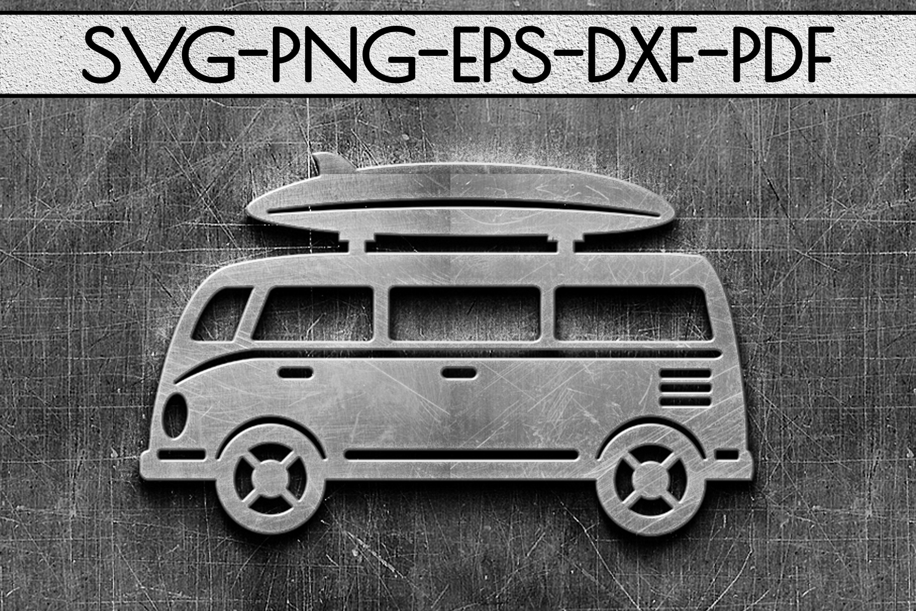 Summer Surf Papercut Template, Bus With Surf Board SVG, DXF example image 2