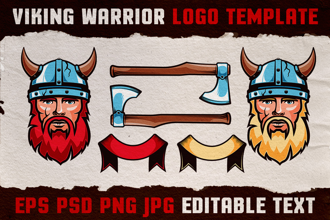 Viking Warrior Logo Colored Template example image 3