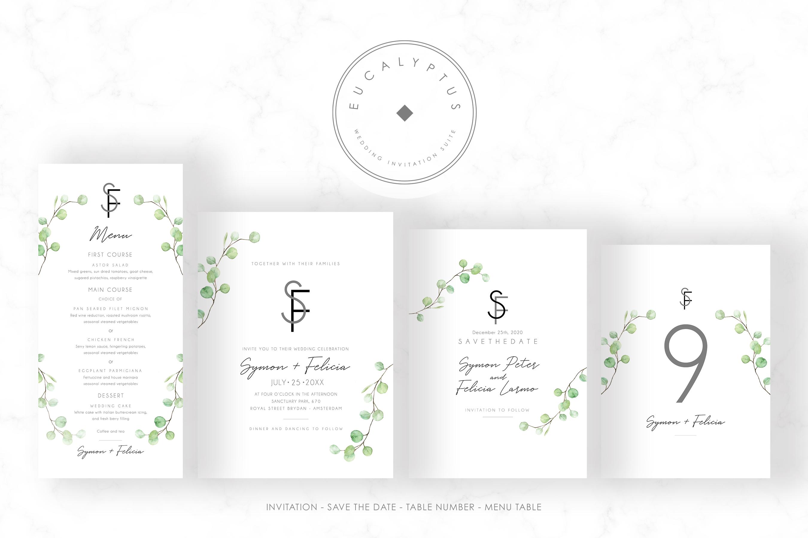 Eucalyptus Wedding Invitation Set example image 5