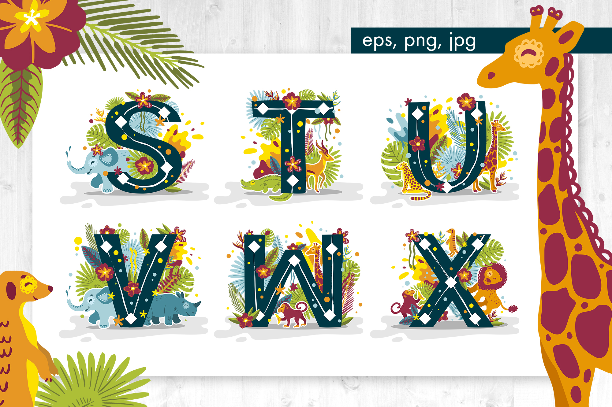 Tropical alphabet cartoon animals vector example image 5