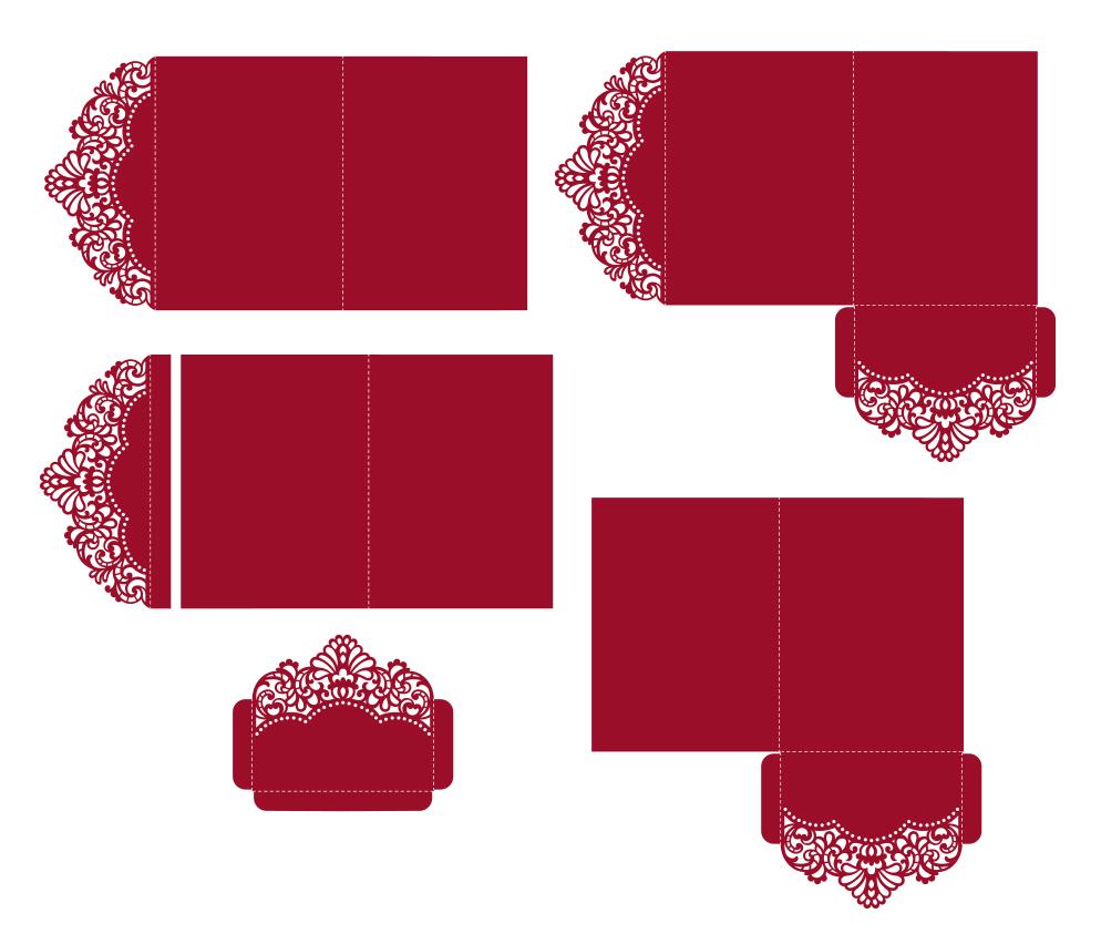 Laser cut wedding invitation, 5x7, Cricut Template, Tri Fold example image 2