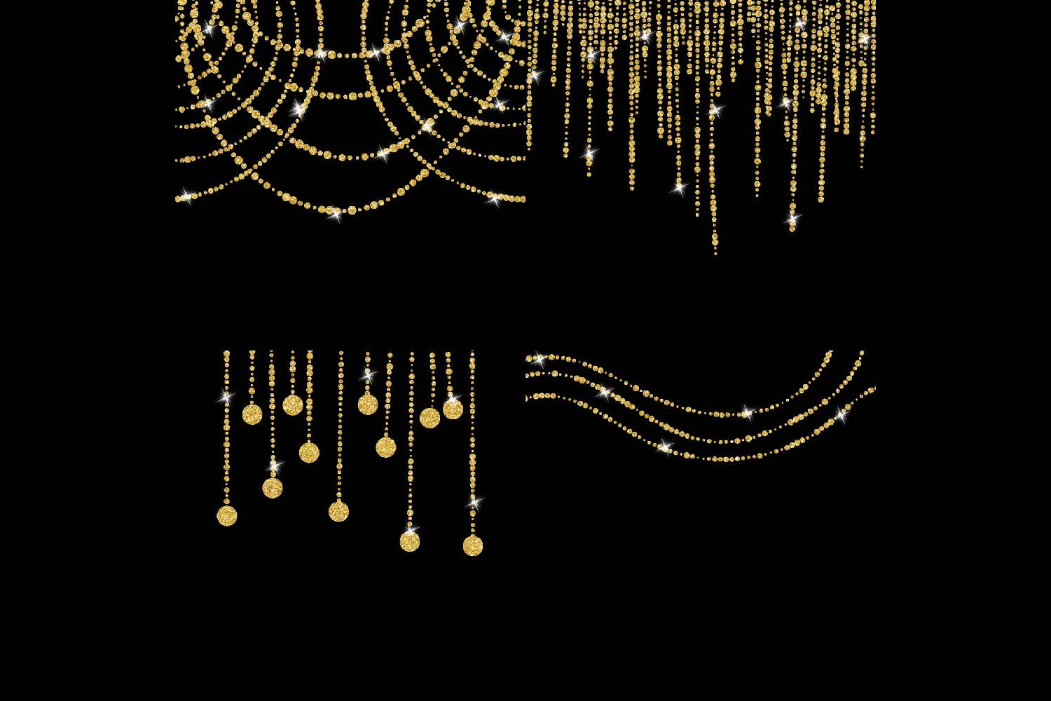 Gold Glitter String Lights Clipart example image 6