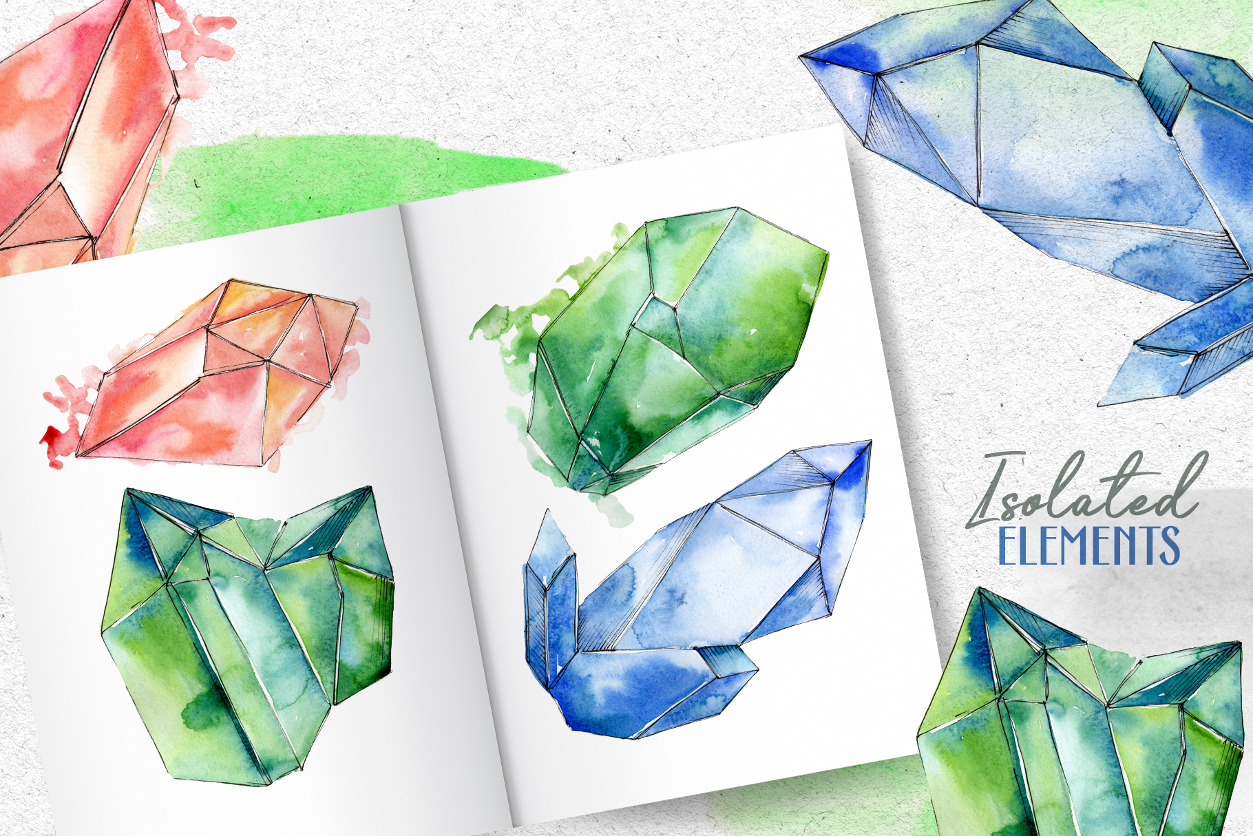 Crystals Corundum red, blue and green Watercolor png example image 8