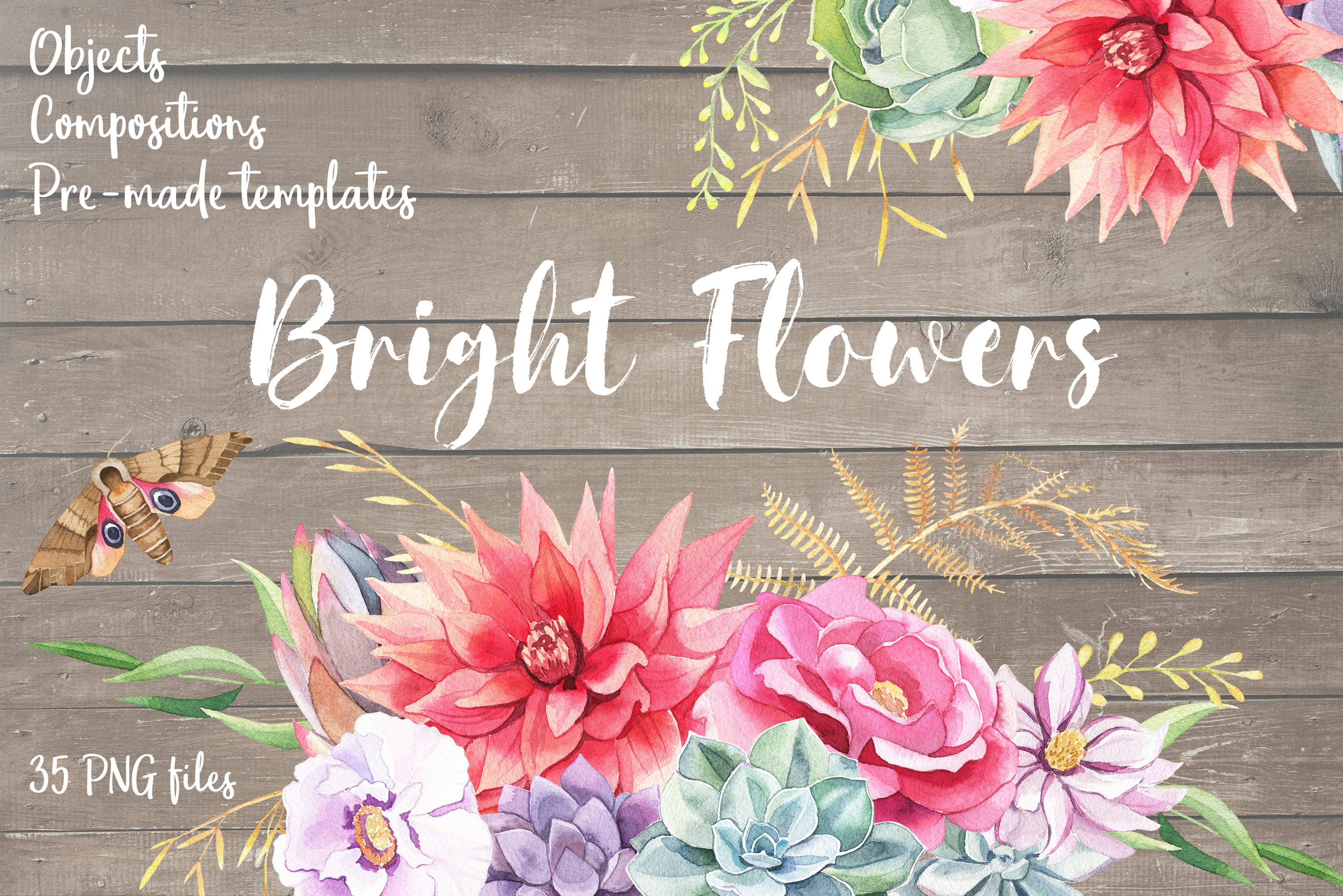 Bright Flowers- Watercolor Set example image 1