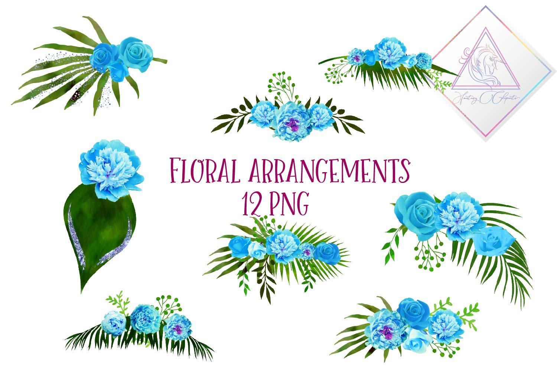 Blue Floral Arrangements Clipart example image 1