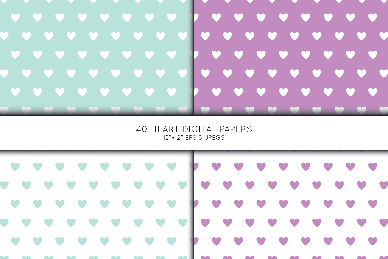 Heart Digital Paper, Heart Scrapbook paper example image 3