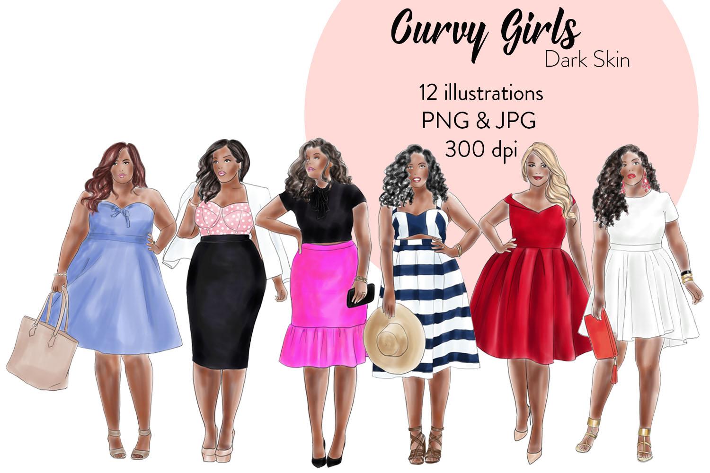 Fashion illustration clipart - Curvy Girls - Dark skin example image 1