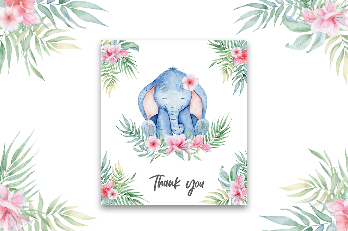 Lovely Elephants Watercolor set animals clipart example image 13