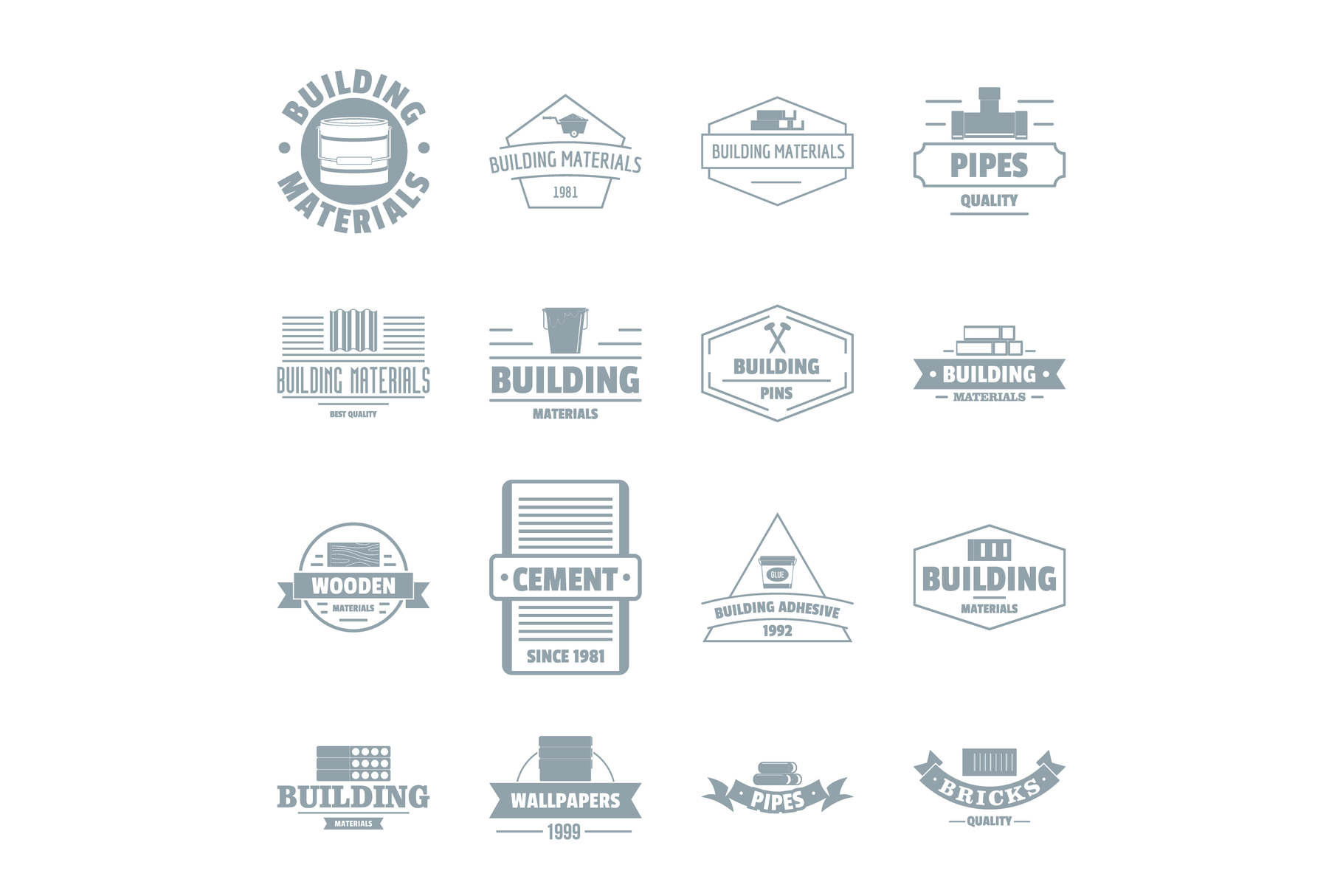 Building materials logo icons set, simple style example image 1