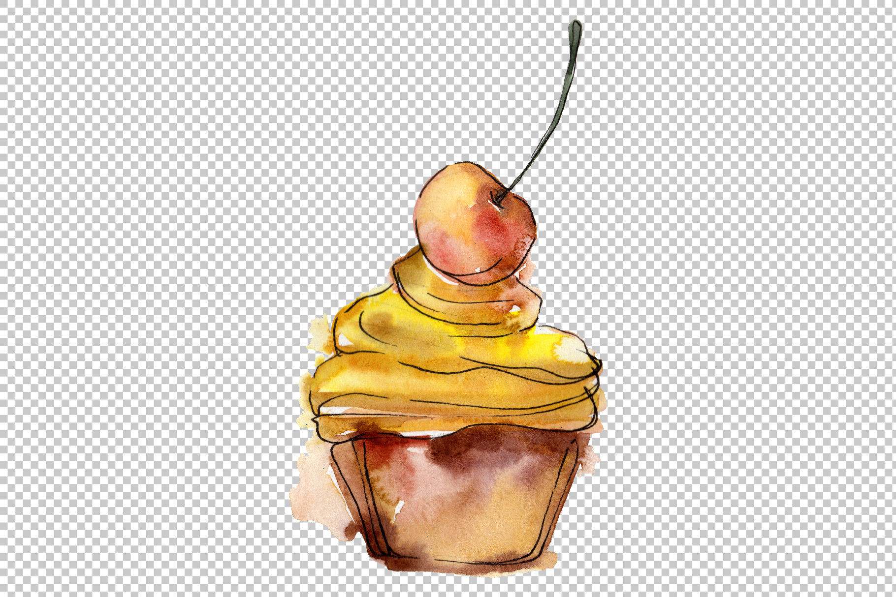 Dessert Friday Watercolor png example image 3