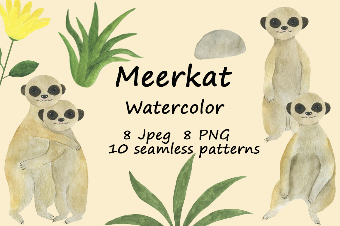 Set meerkats illustrations watercolor example image 1