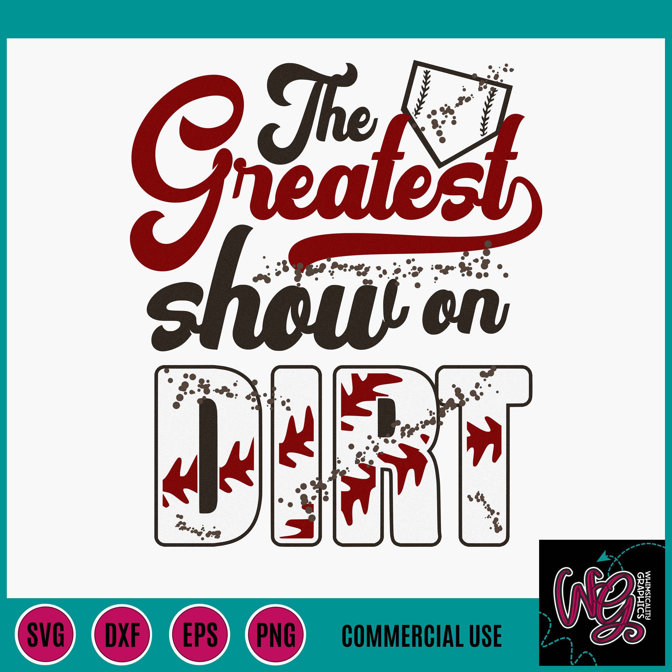 Greatest Show On Dirt Baseball Softball SVG DXF PNG EPS Comm example image 2