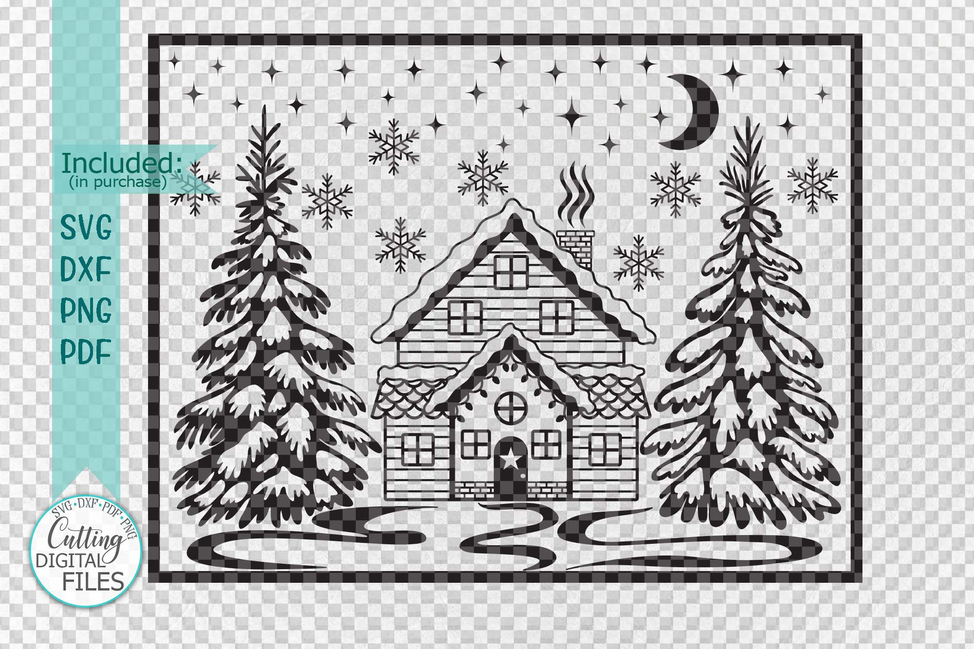 Winter Christmas House Scene Landscape with Trees svg cut example image 2