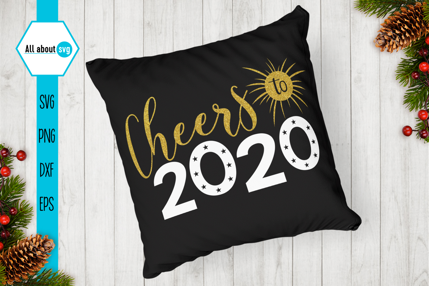 Cheers To 2020 Svg, New Year Glitter Svg example image 3