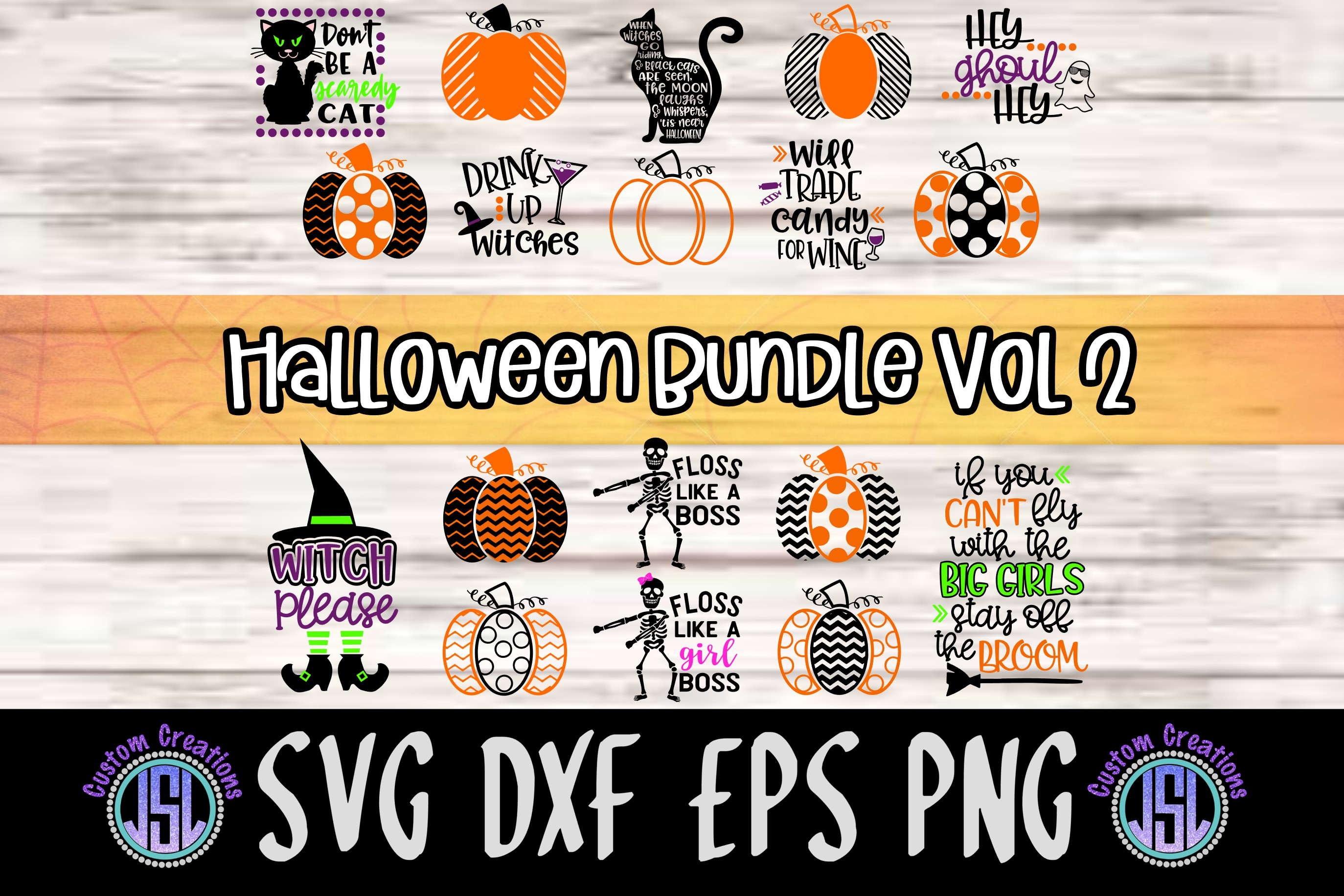 Halloween Bundle Set of 18 | Vol 2 | SVG DXF EPS PNG example image 1