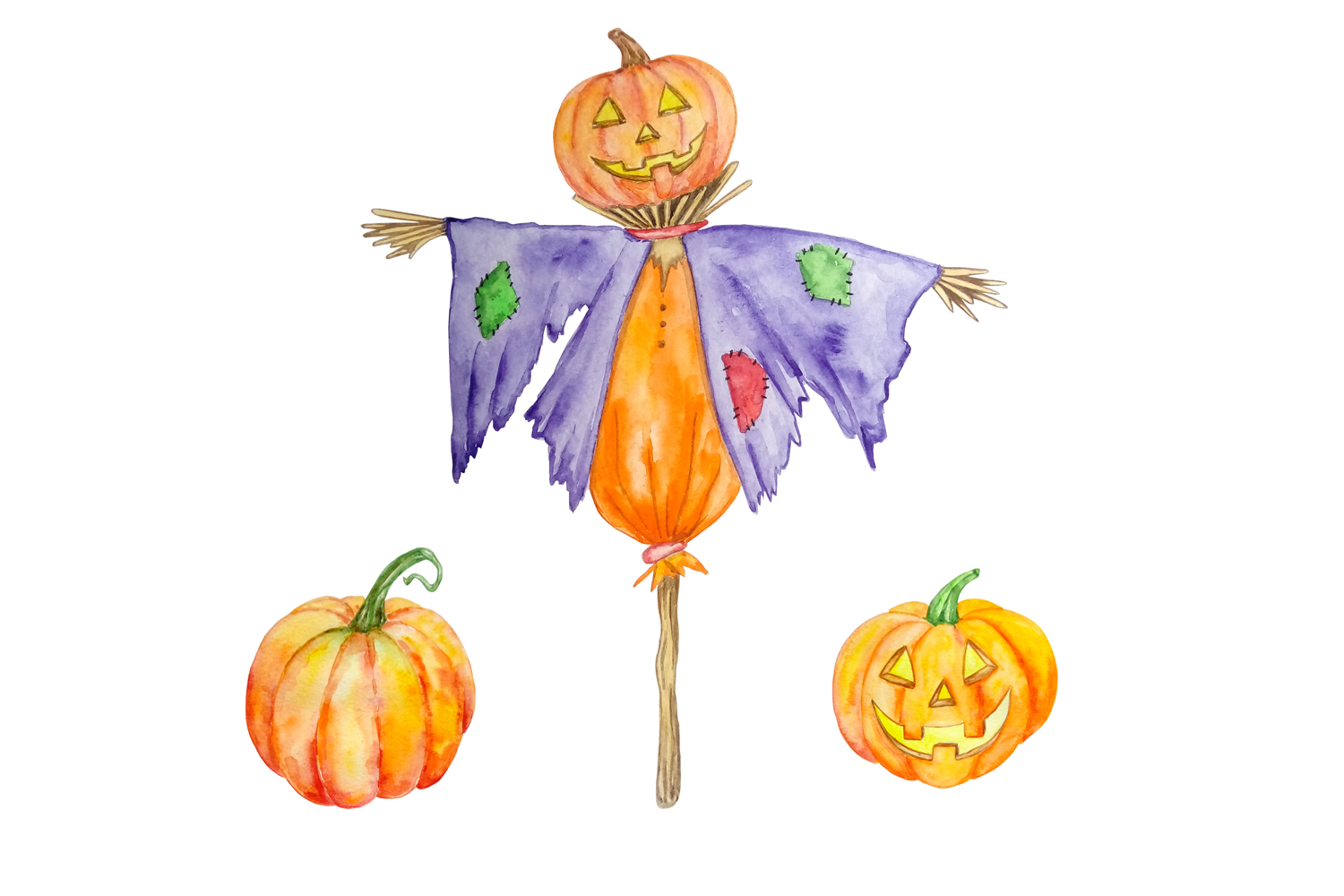 Halloween watercolor clipart example image 2