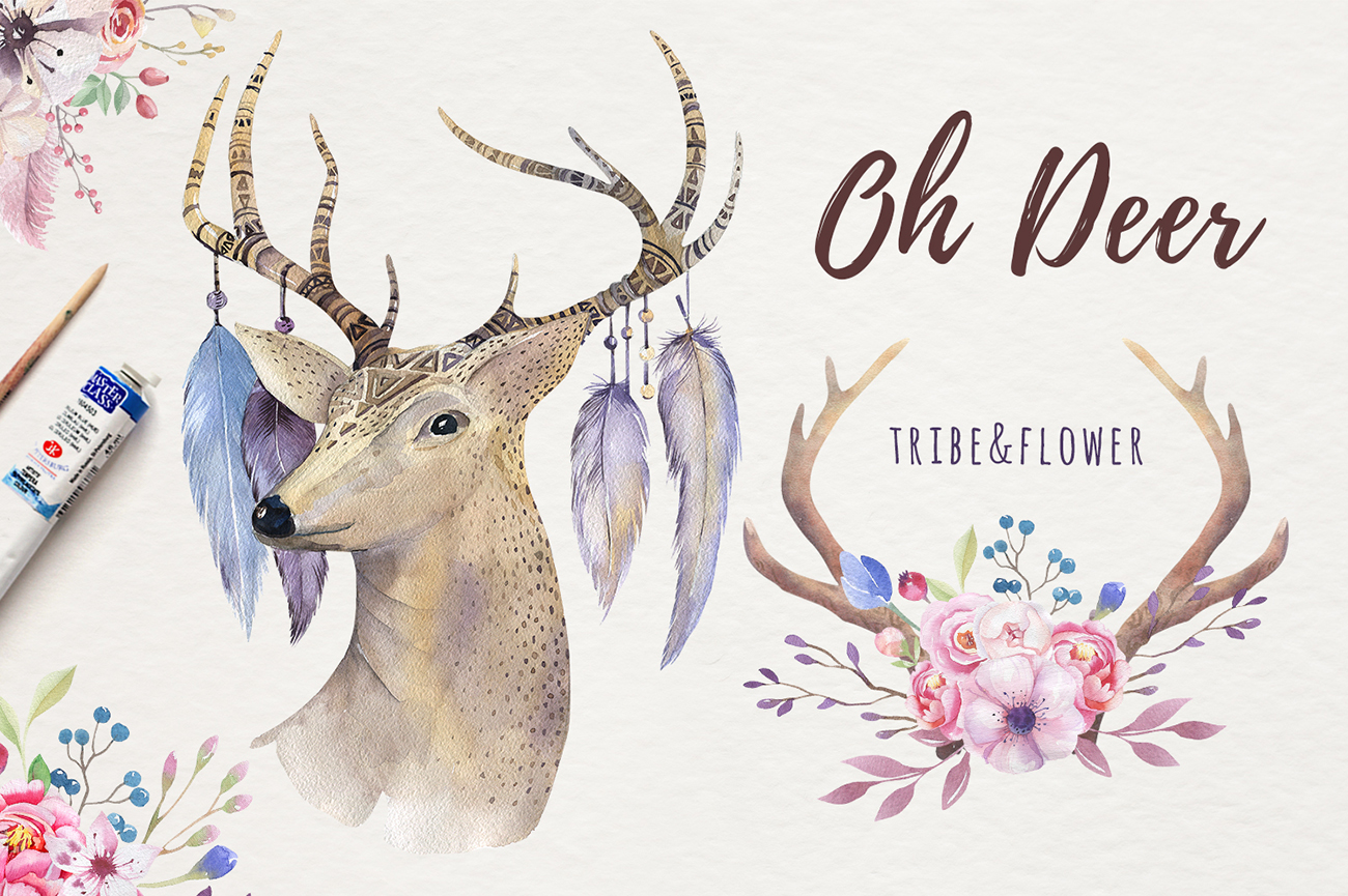 Watercolor deer and horns. Bohemian example image 2