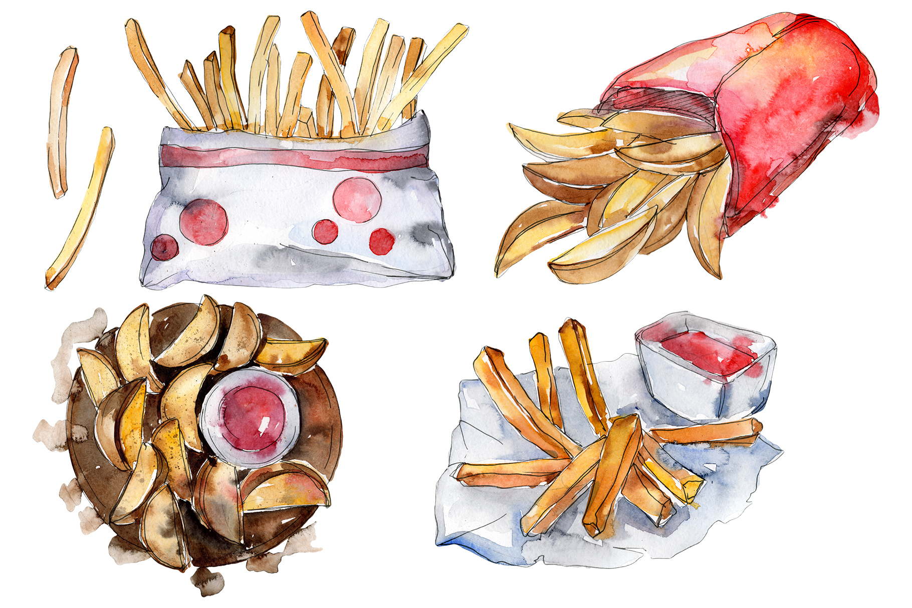 French fries with sauce Watercolor png example image 1