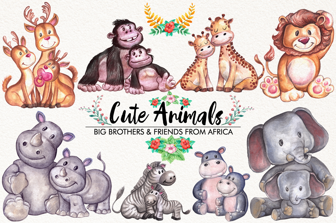 Watercolor Cute Animals example image 2