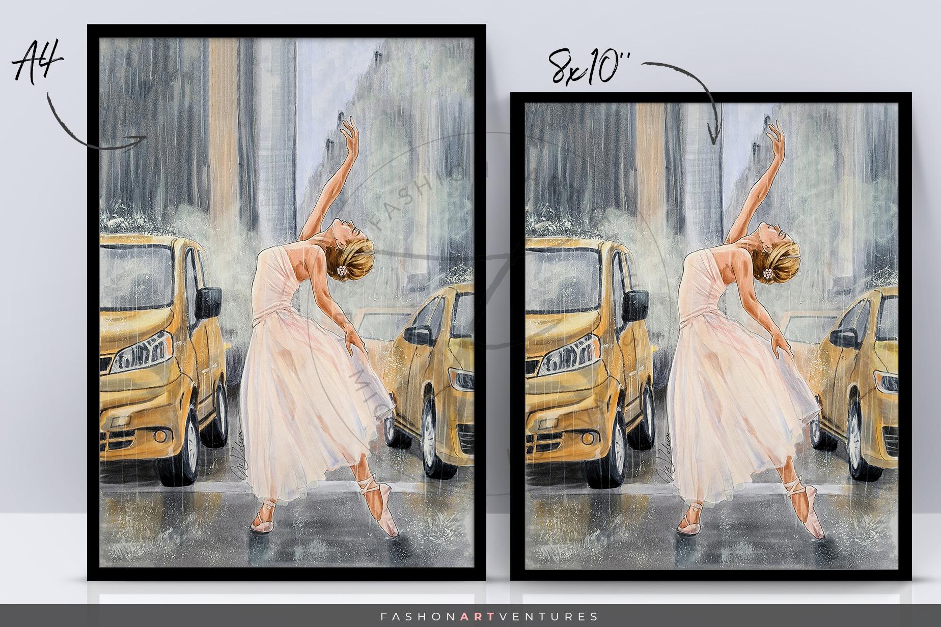 Dancing in the rain - hand-drawn Art print, ballerina art example image 2
