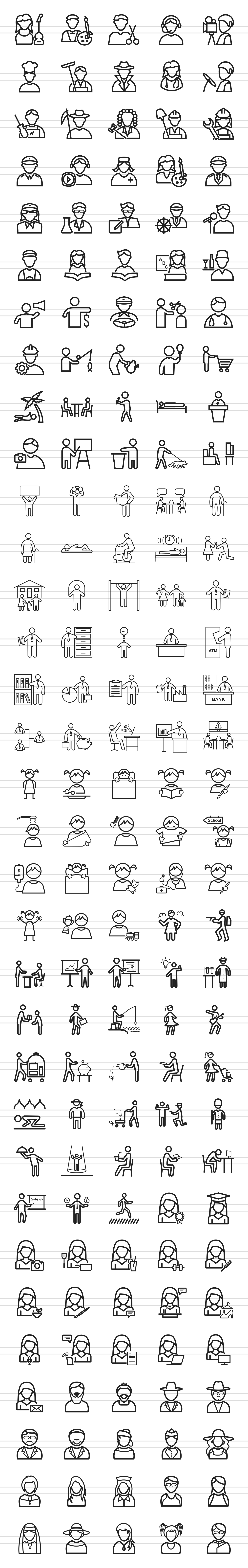 166 People Line Icons example image 2