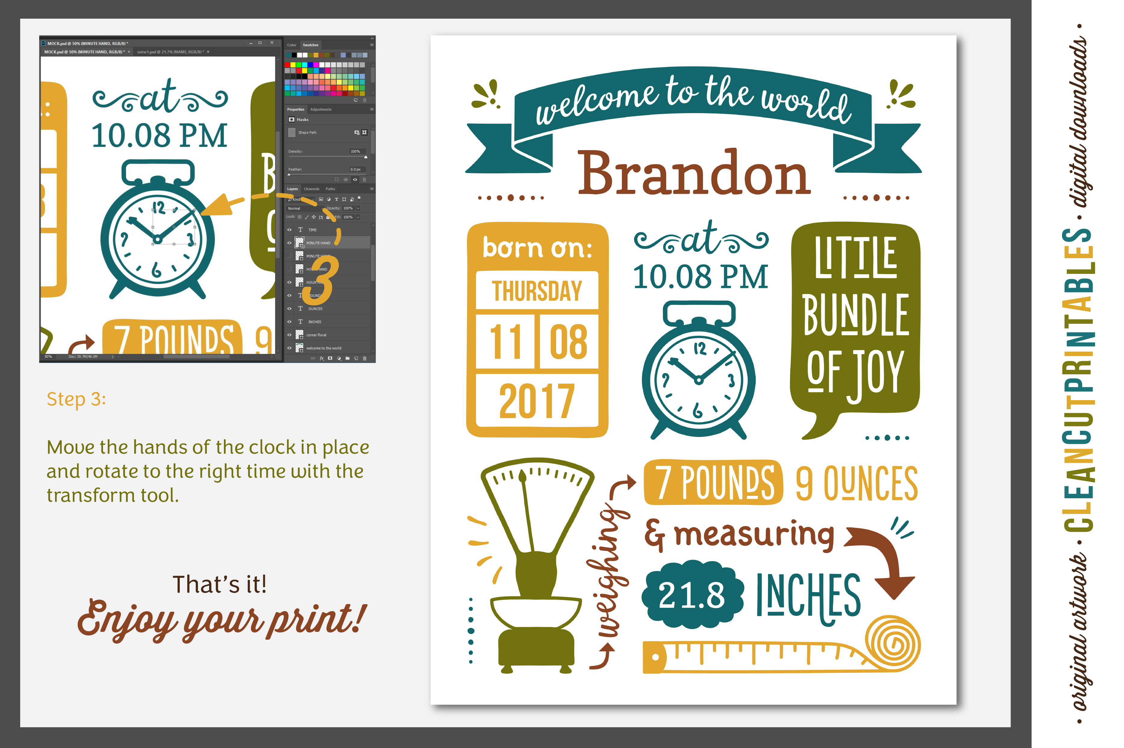 BIRTH STATS TEMPLATE|Photoshop Edit|Baby Birth Announcement example image 4