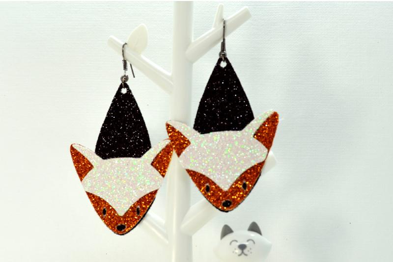 Fox earrings template SVG, DIY earrings template example image 2