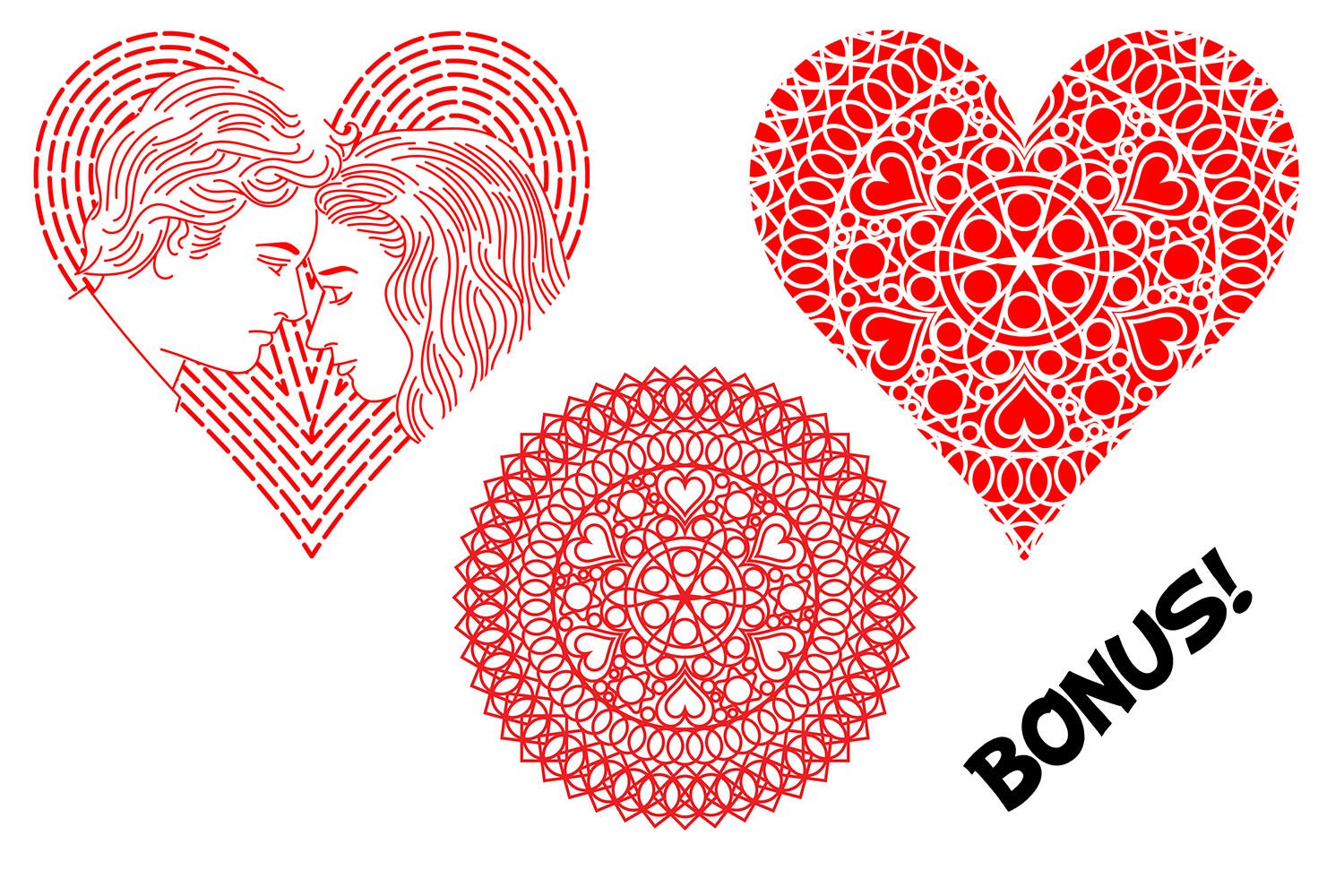 Ten Decorative Heart Cut Out Design 1 example image 5