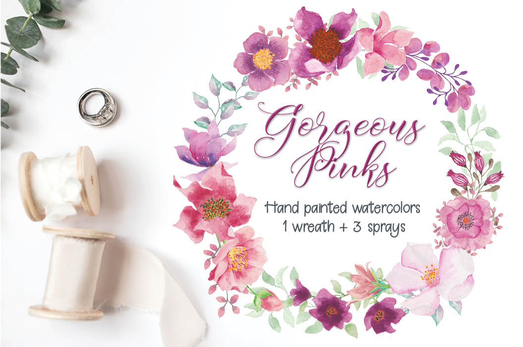 Watercolor wreath and sprays in pinky shades example image 1