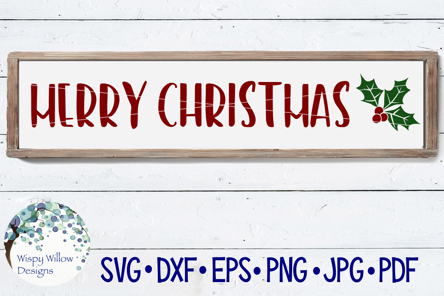 Merry Christmas | Wood Holiday Sign SVG example image 1