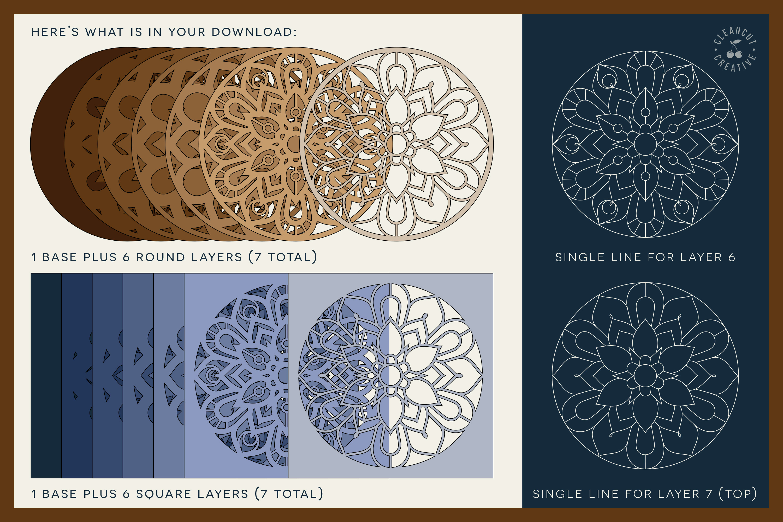 Download 3D layered MANDALA svg | stacked paper | laser cut wood art