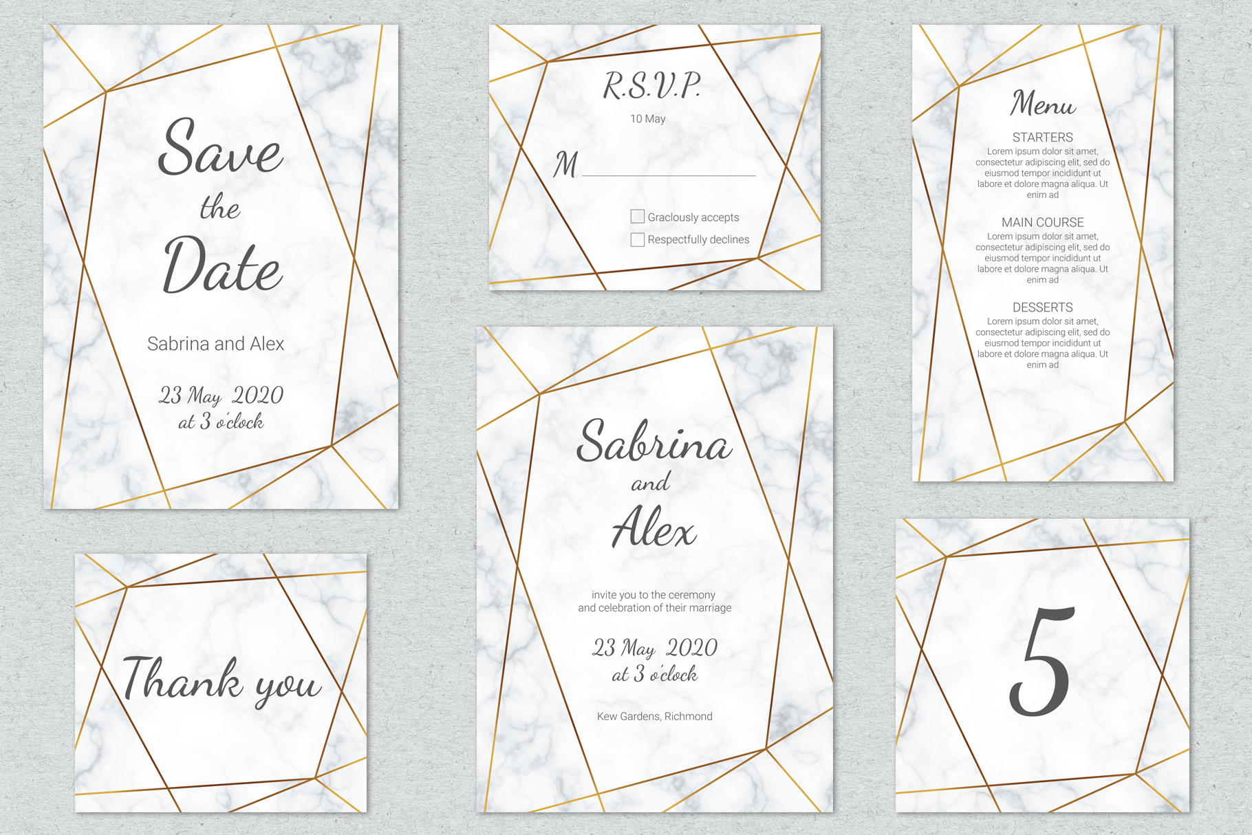 Marble wedding invitation suite. Vector example image 2