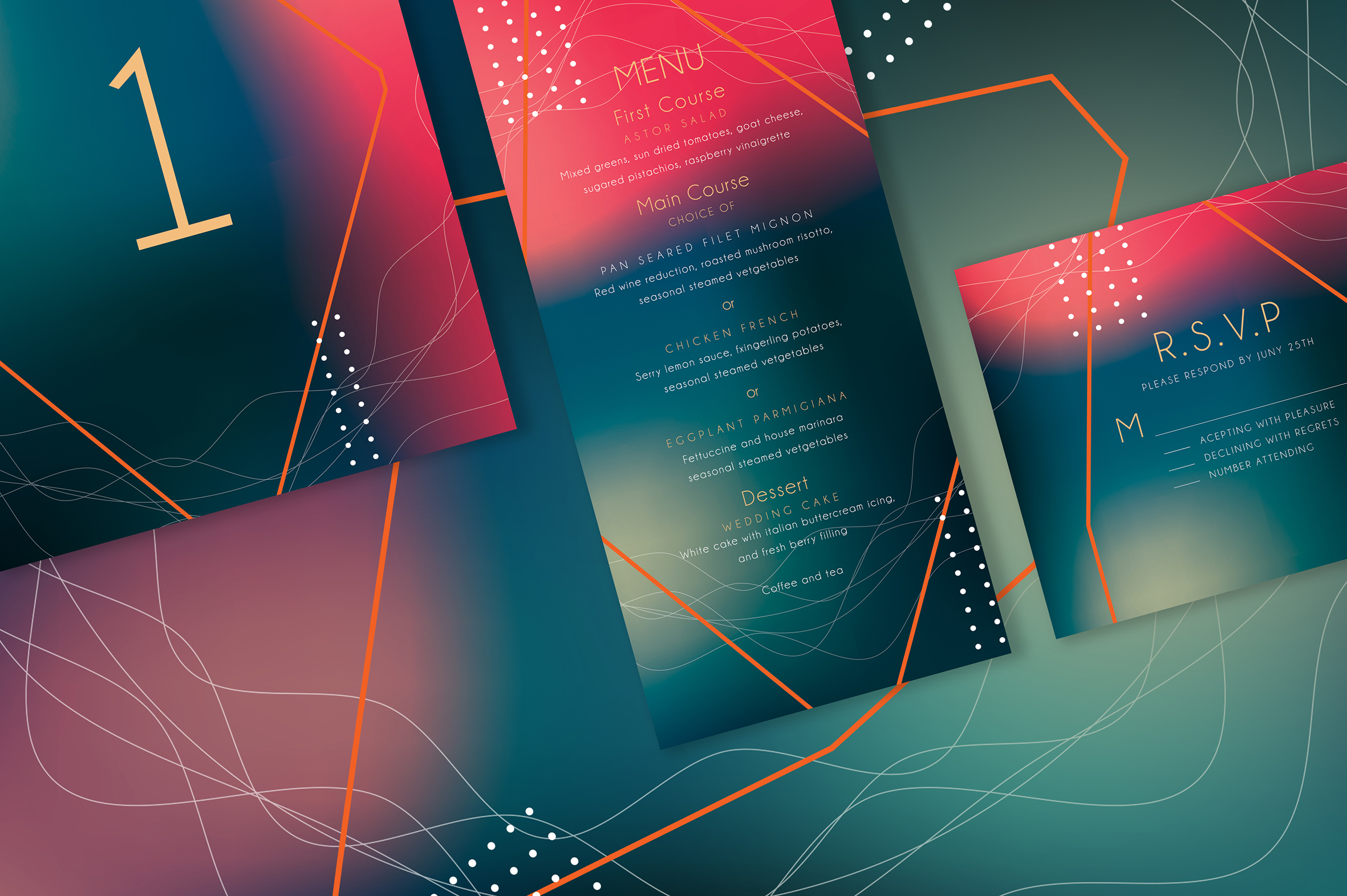 Abstract Wedding Invitation Suite example image 3