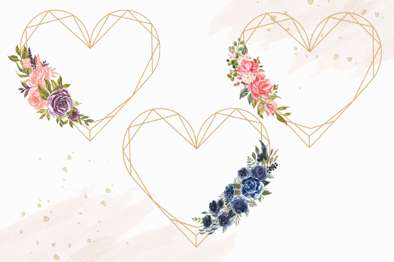 Heart Shaped Watercolor Flowers Frames, Geometric Gold Frame example image 4