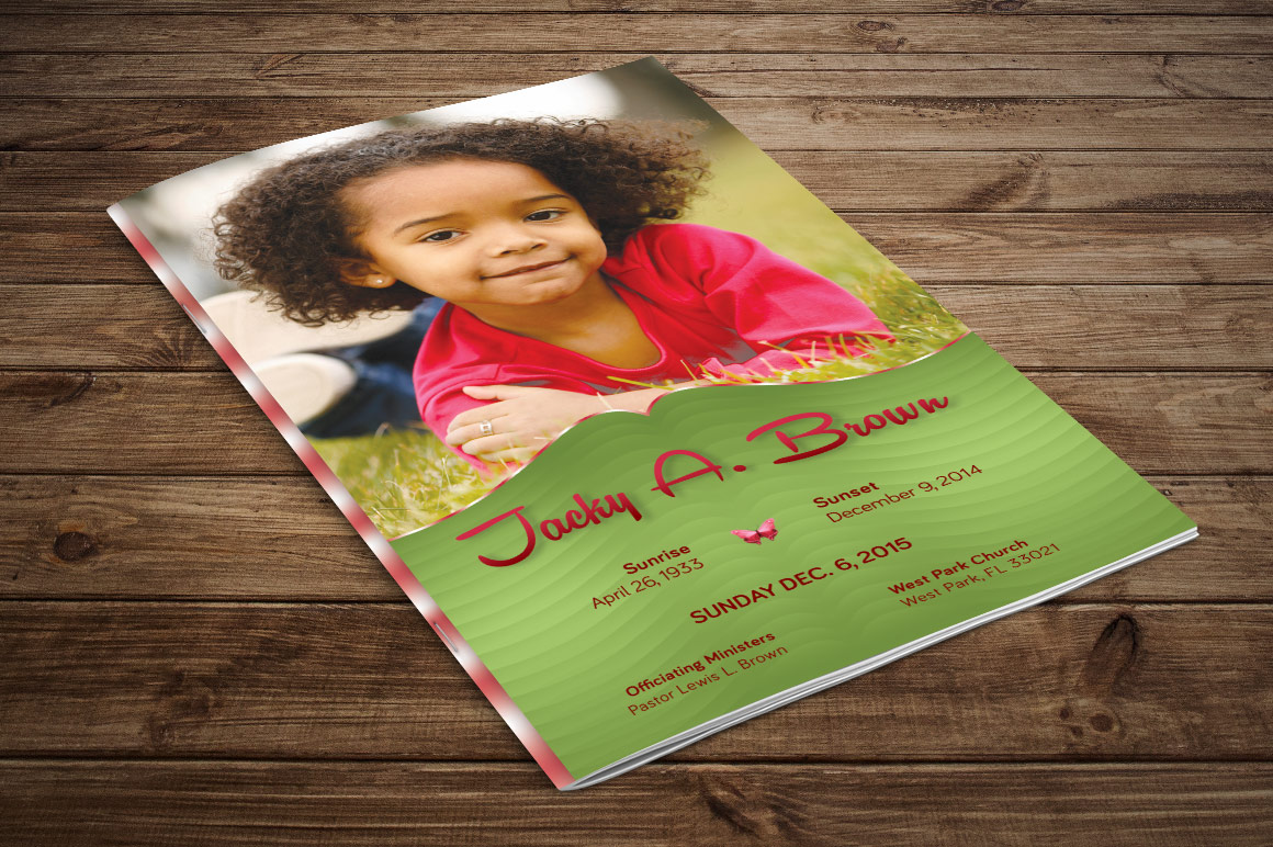 Child Funeral Program Template Photoshop example image 3