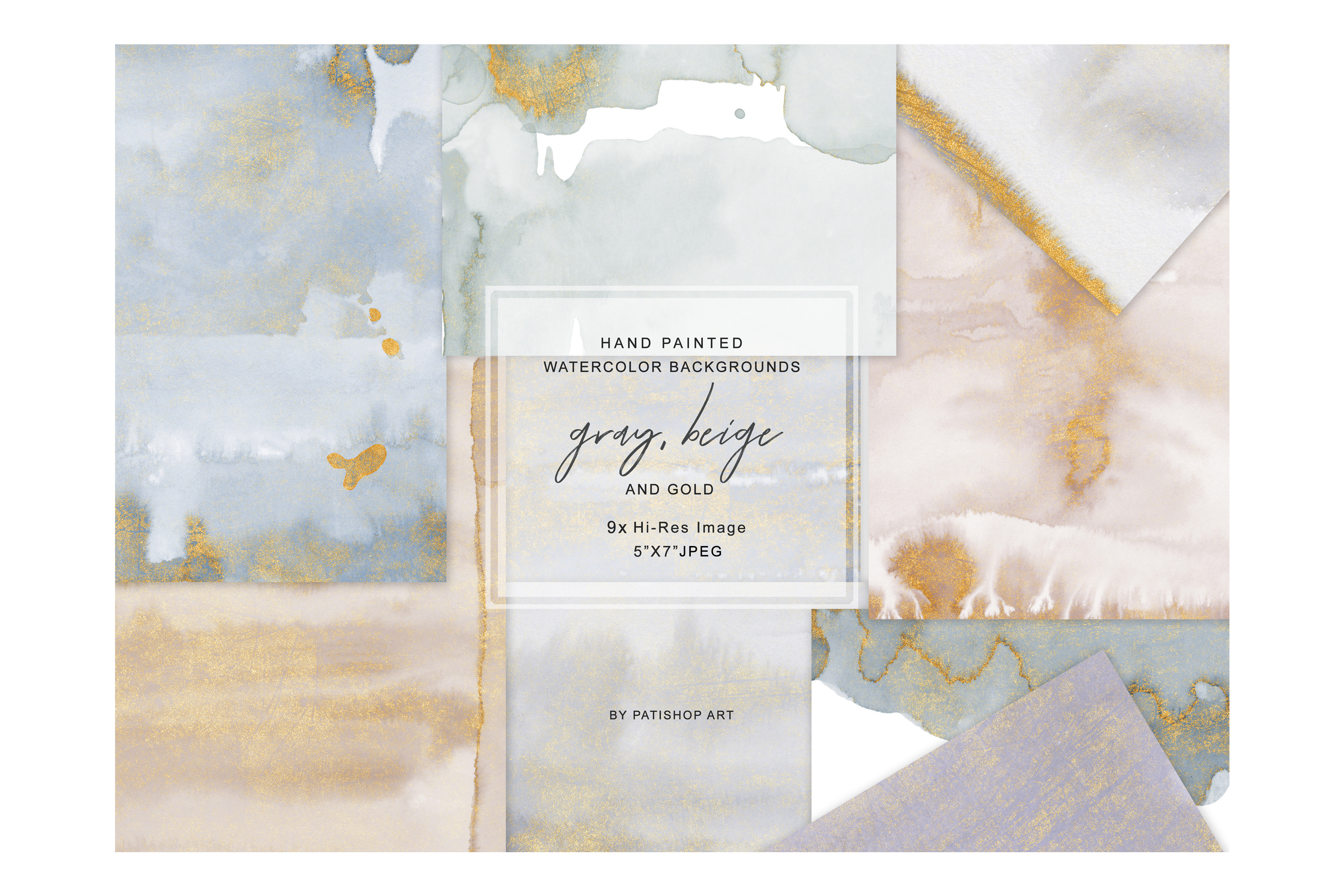 Watercolor Glittered Gray & Beige Background 5x7 example image 4