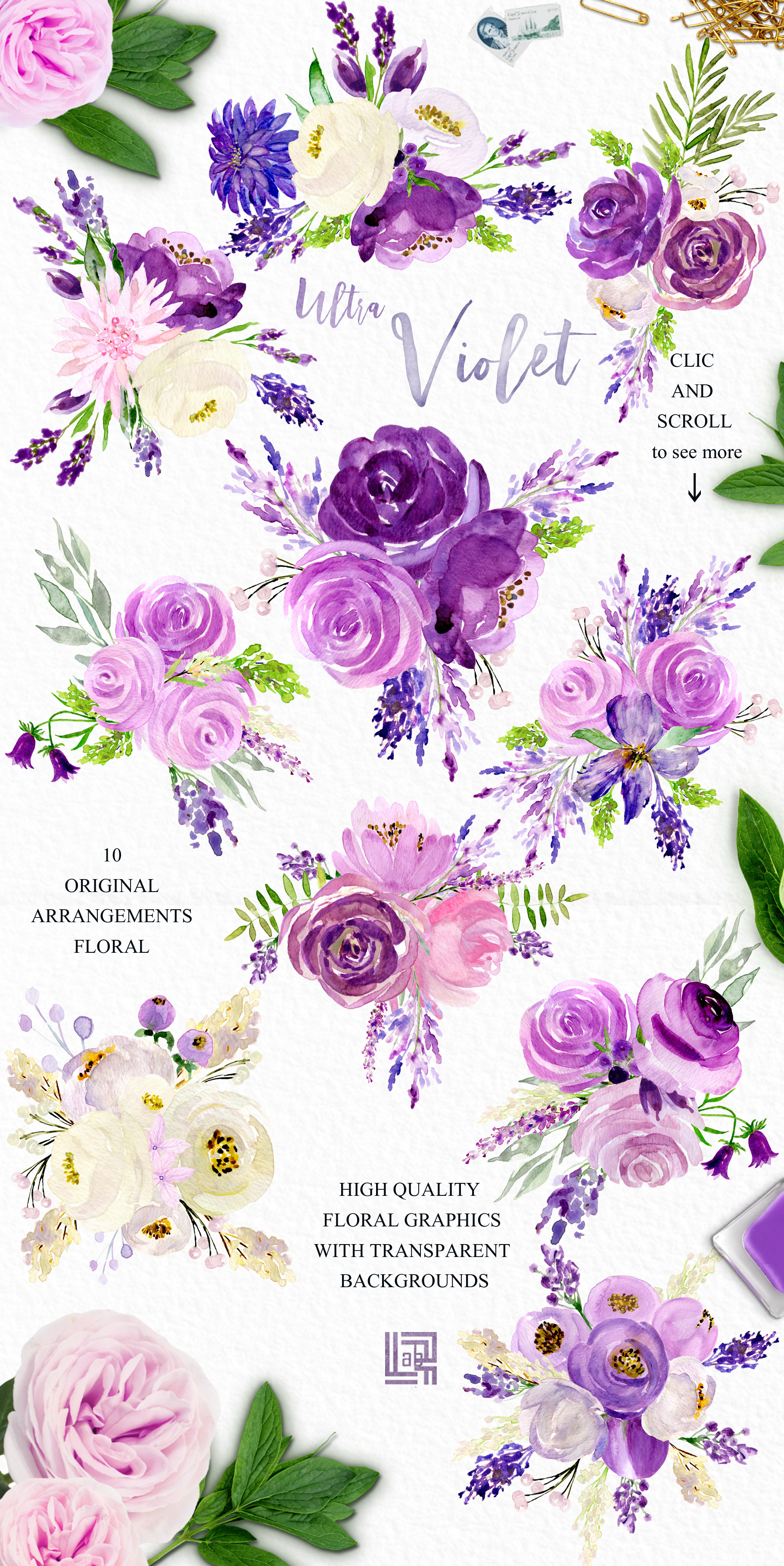 Ultra violet watercolor flowers example image 6