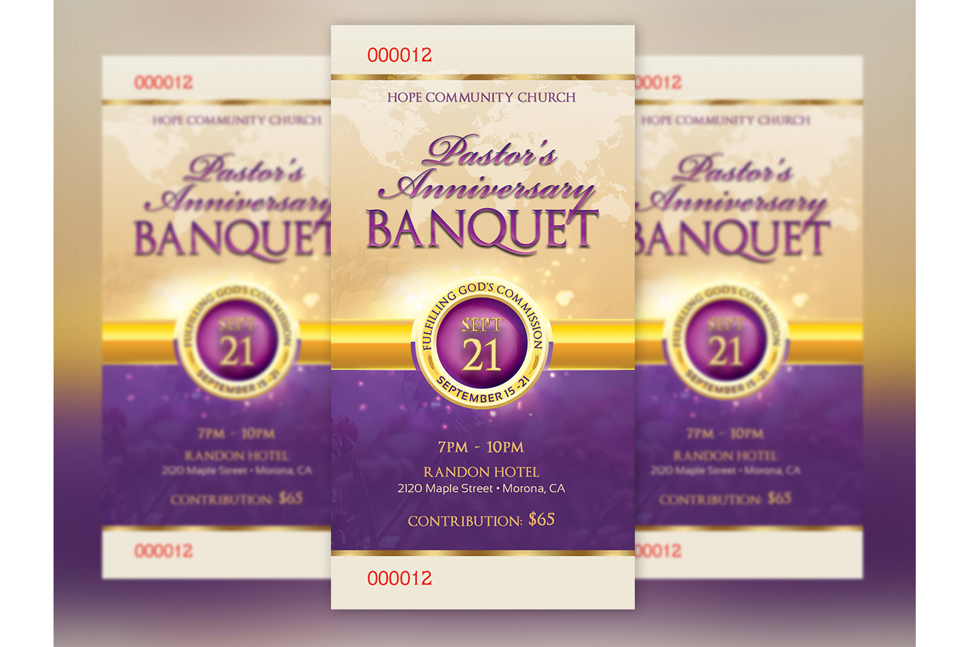 Clergy Anniversary Banquet Ticket Template example image 1